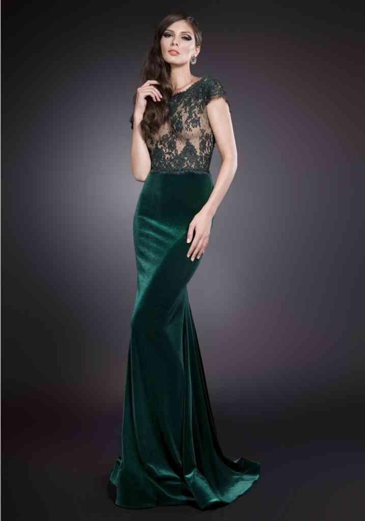 rochie din catifea verde