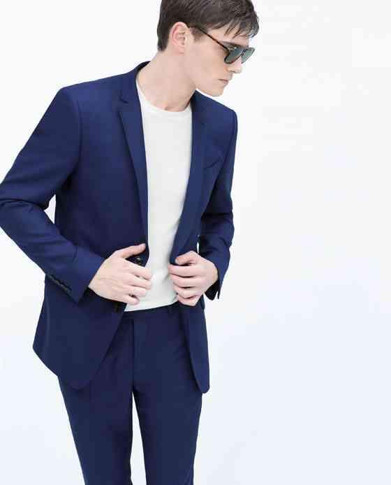 costum albastru zara+tricou