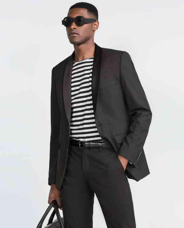 costum negru zara+tricou dungi