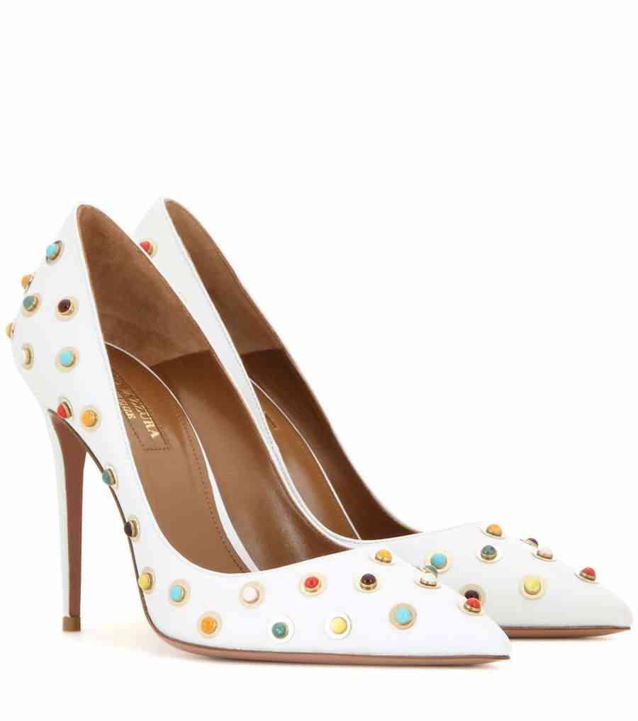 pantofi albi aquazzura