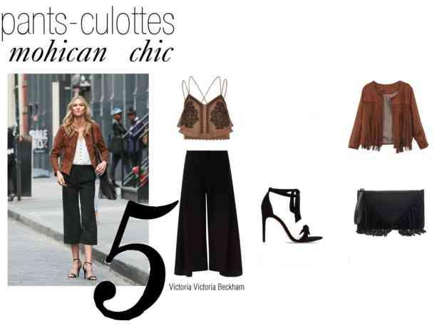 pantaloni culottes stil mohican