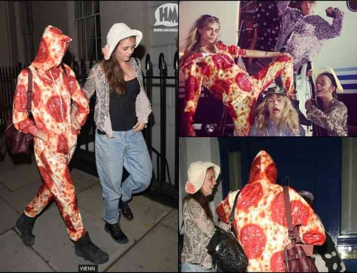 Cara Delevingne s-a costumat în pizza