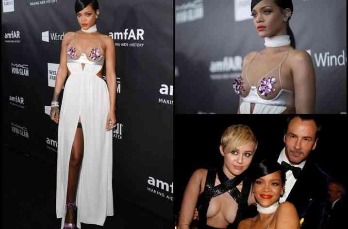 Rihanna a strălucit într-o rochie Tom Ford