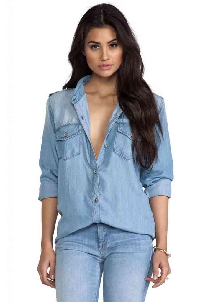 moda femei 2015 camasa denim