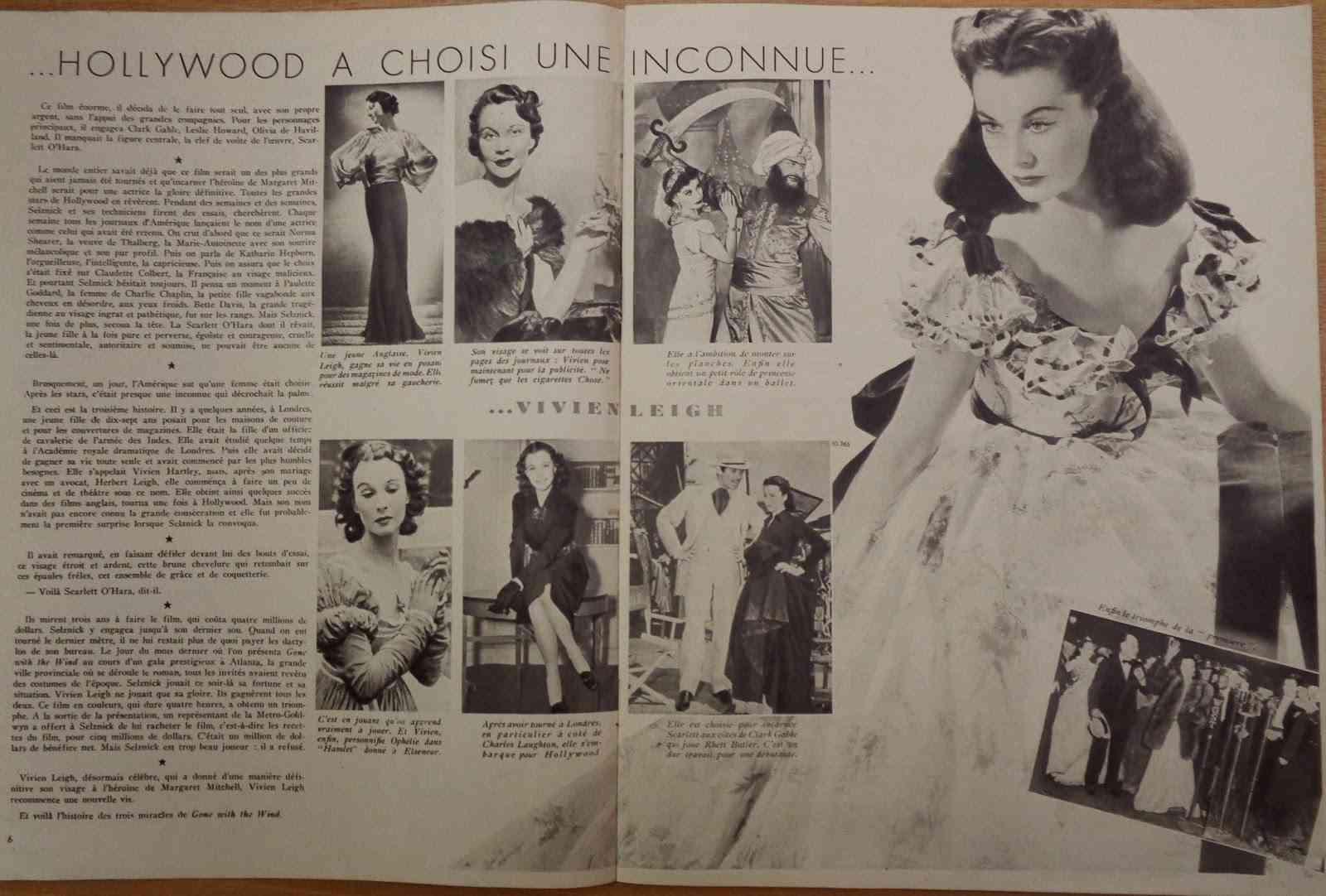 """Articol Marie Claire cu vedetele de la Hollywood din 1940: Vivien Leigh ca Scarlett O'Hara în """"Gone with the Wind""""."""