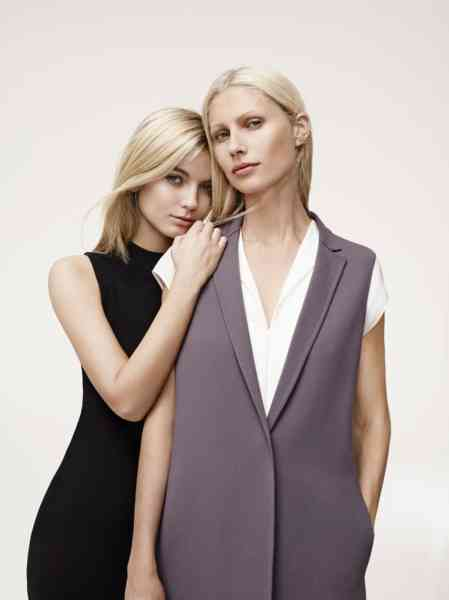 Kirsty Hume and her cousin Samantha Davidson modelling for Jaeger 2015.