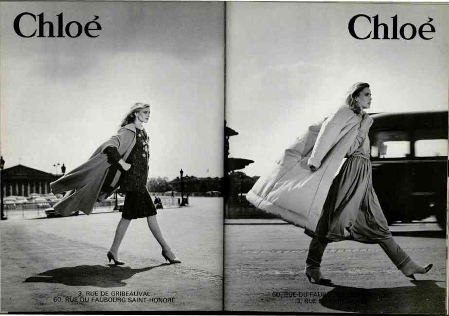 Campania Chloé, creata de Karl Lagerfeld și fotografiată de Michel Comte, toamna / iarna 1980