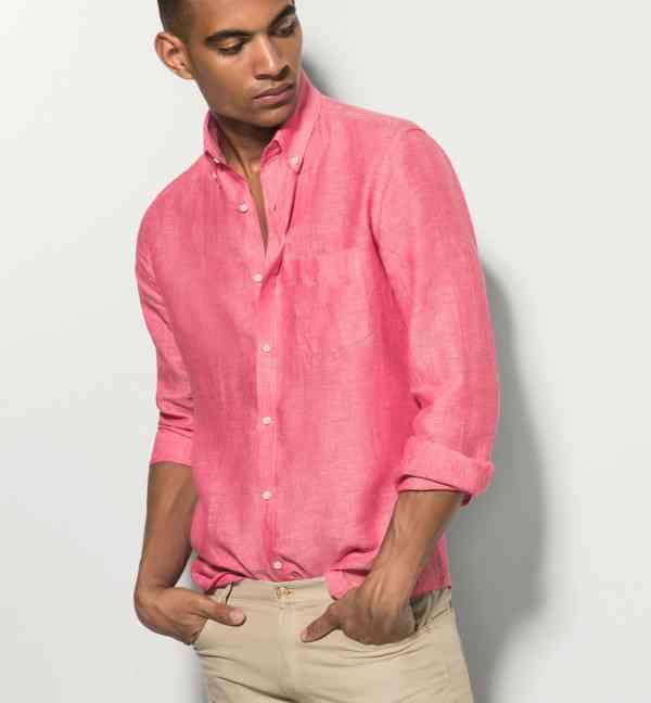 camasa coral+pantalon bej