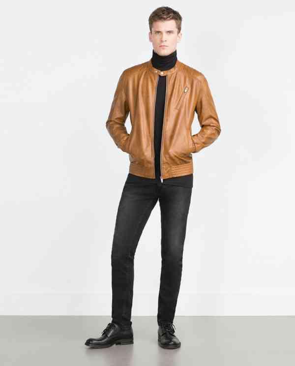 jacheta piele maro+pantaloni gri