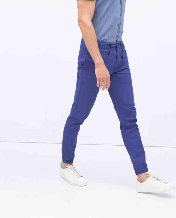 pantaloni albastru electric zara