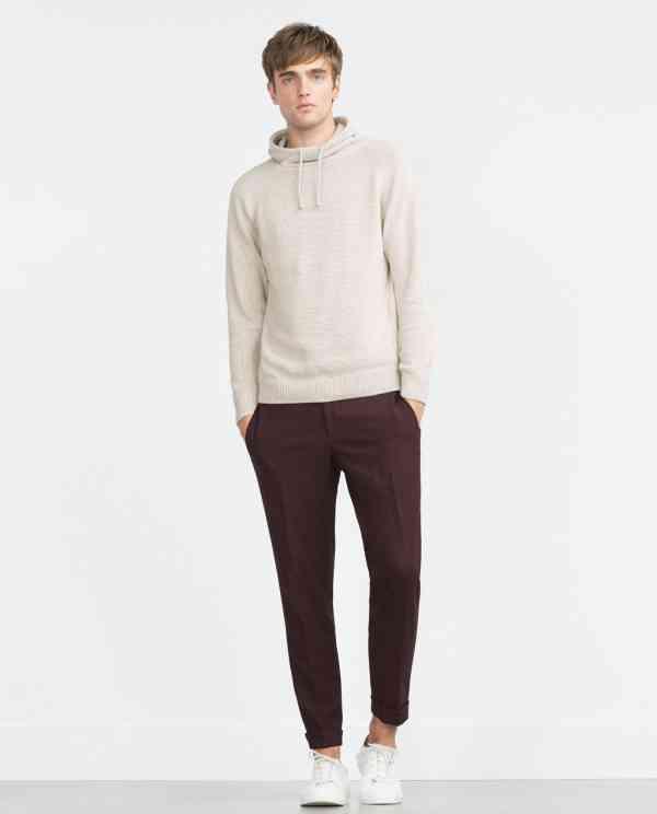pulover alb crem+pantalon visinii