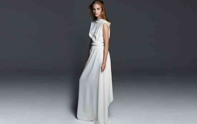 rochie mireasa drapaj asimetric