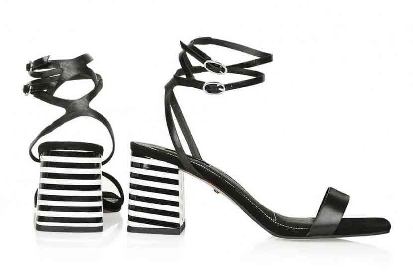 sandale toc dungi bicolore
